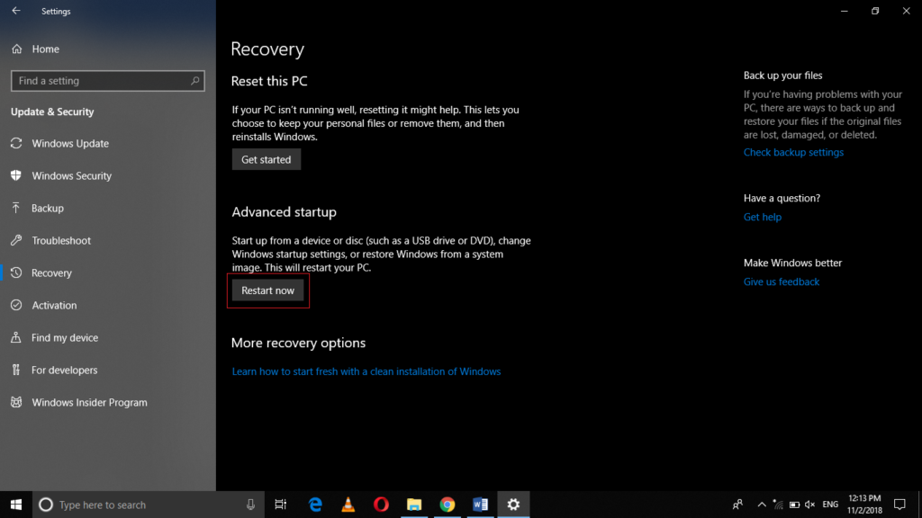 Recovery settings window
