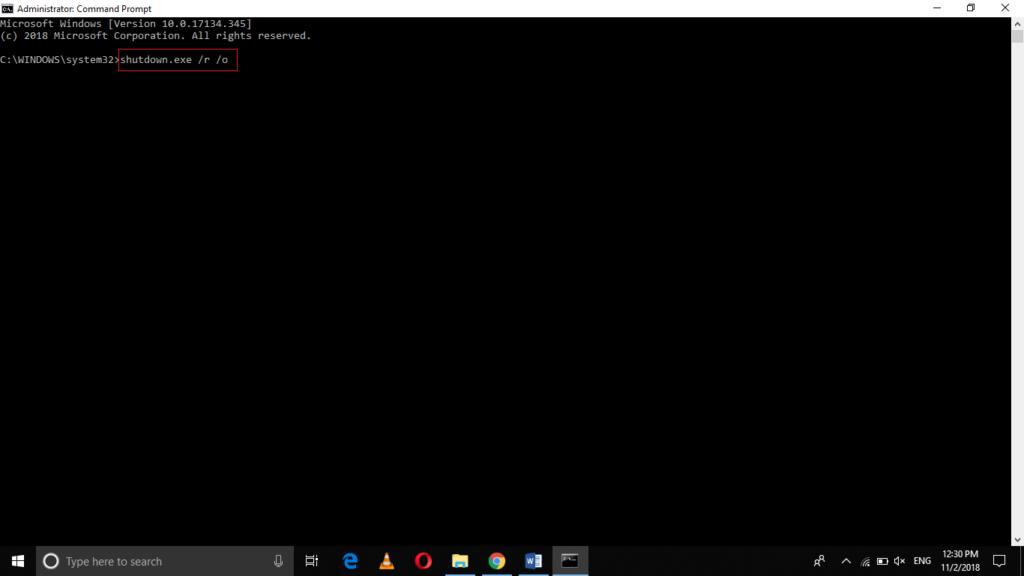Run command shutdown.exe /r /o
