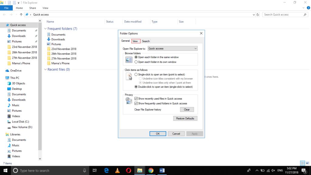 Folder Options window