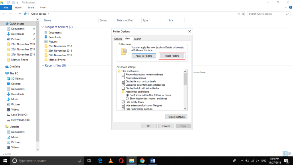 how to reset to default download folder