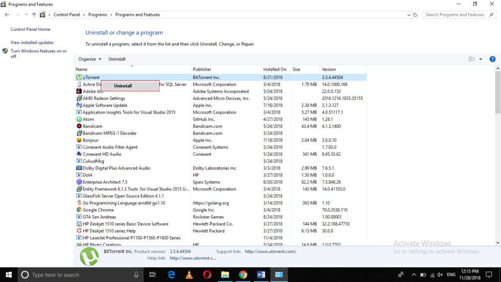 List of installed programs