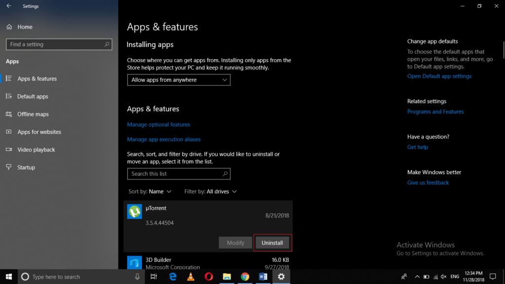 Apps Settings window