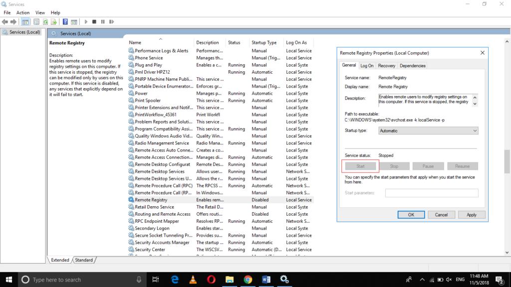 Start Remote Registry