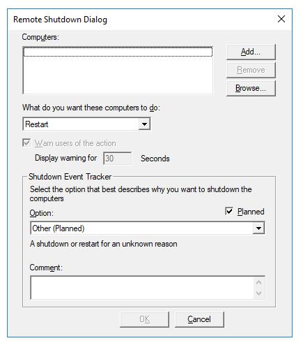 Remote Shutdown Dialogue