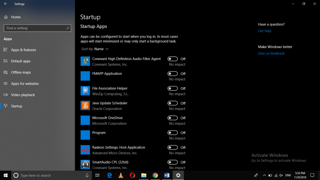 startup computer settings