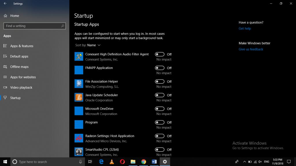 windows startup programs settings