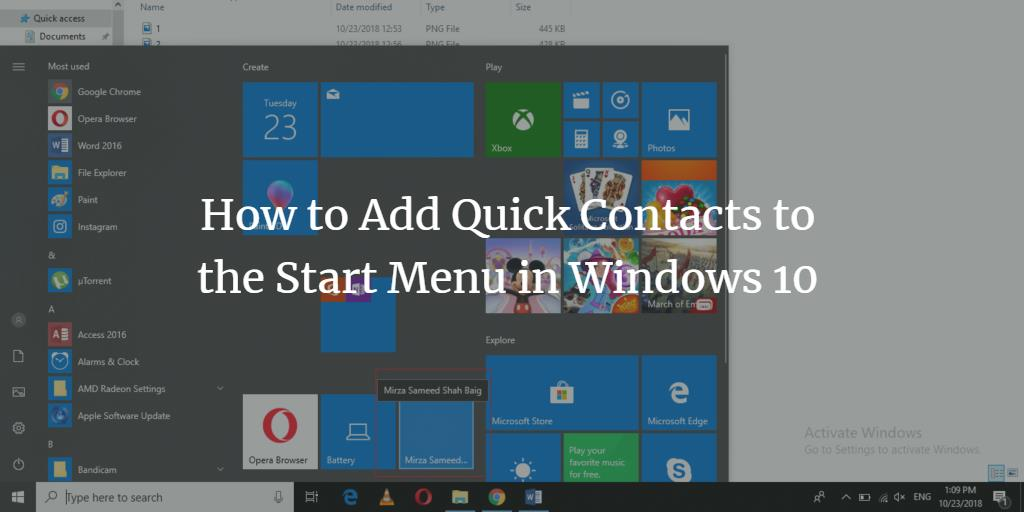 Add quick contact to start menu