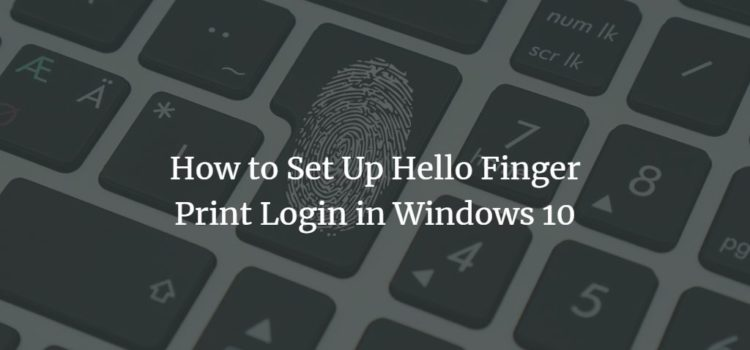 How to Set Up Hello Finger Print Login in Windows 10