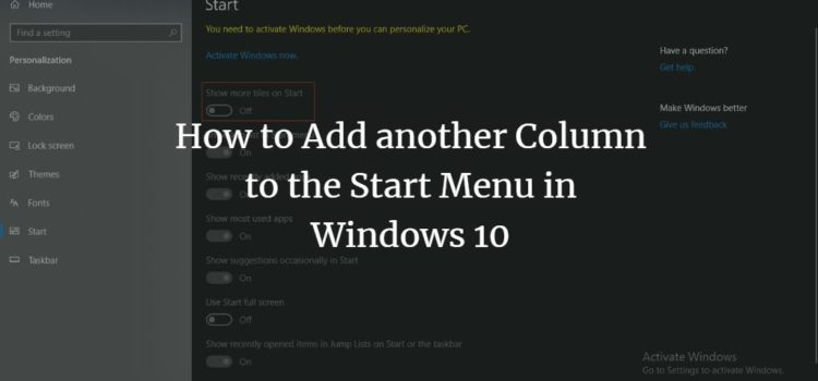 How to Add another Column to the Start Menu in Windows 10