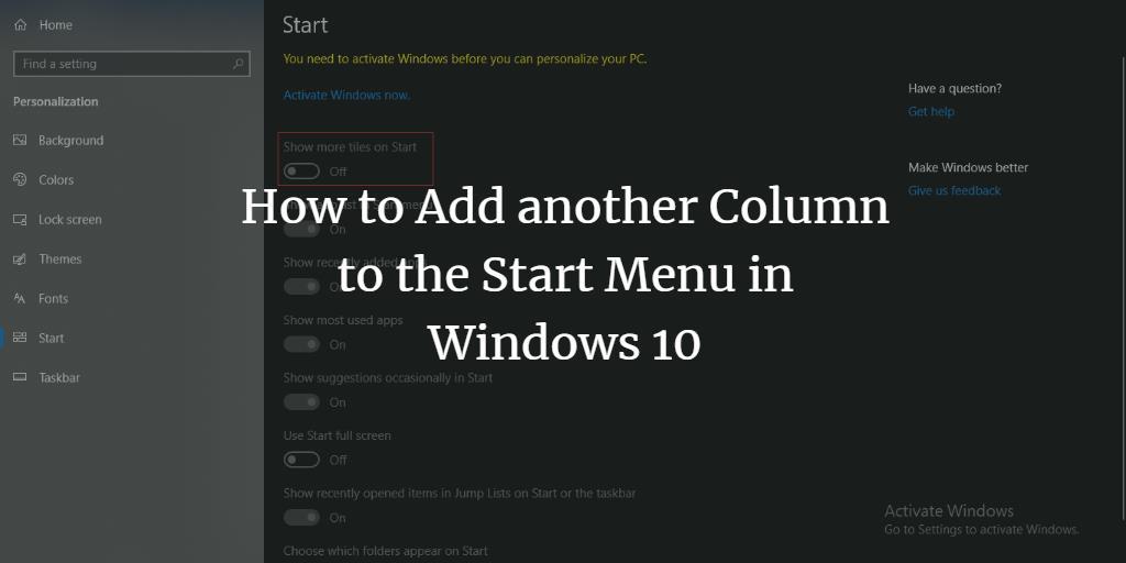 More Tiles in Windows 10 Start Menu