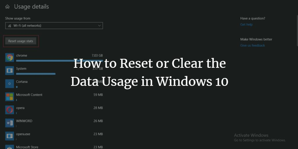 Reset Network Usage stats