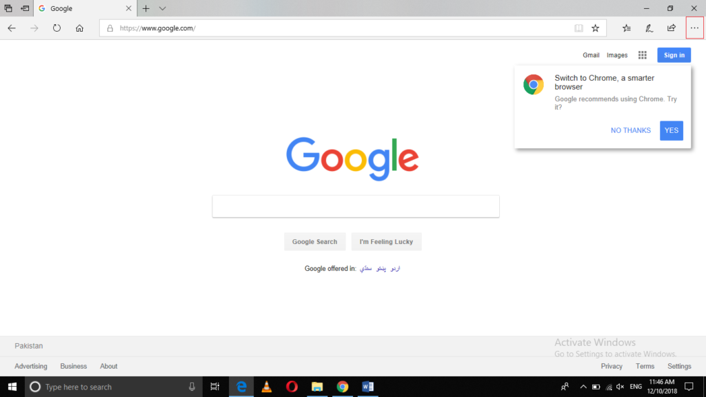 Open Google search engine website