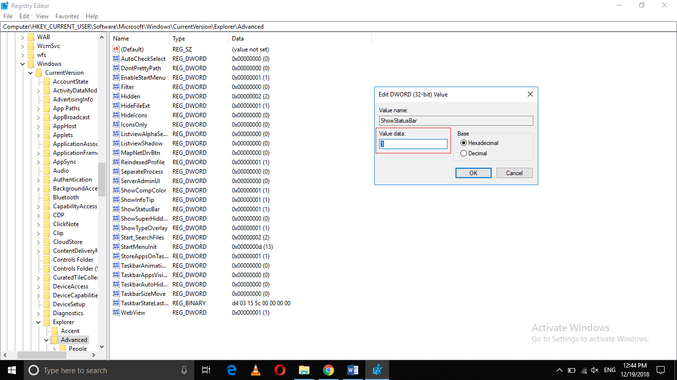 How to Enable or Disable the Status Bar in the File Explorer