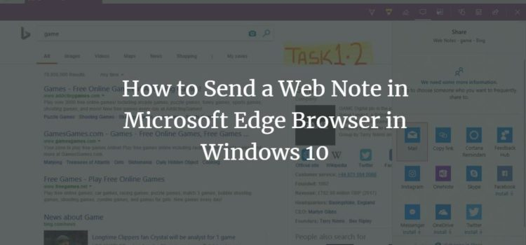How to Send a Web Note in Microsoft Edge Browser in Windows 10