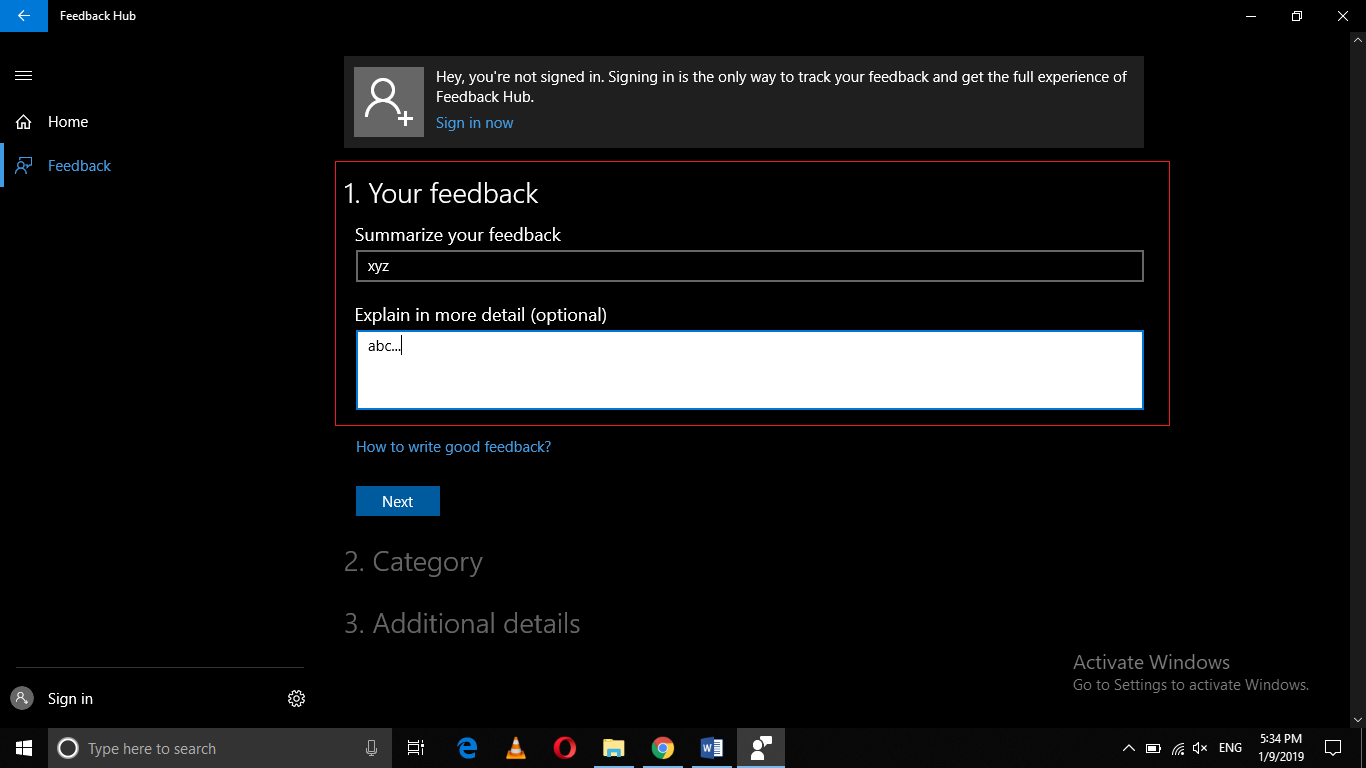 , How to Report a Problem or Send Feedback about a Problem in Windows 10