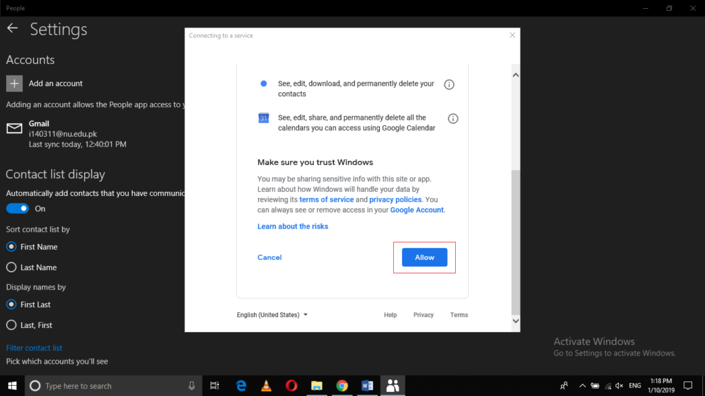 Allow Access to Gmail account from Windows