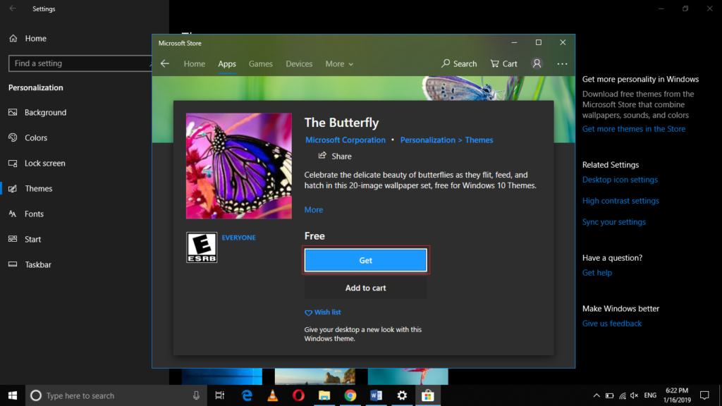 Install free Windows Theme
