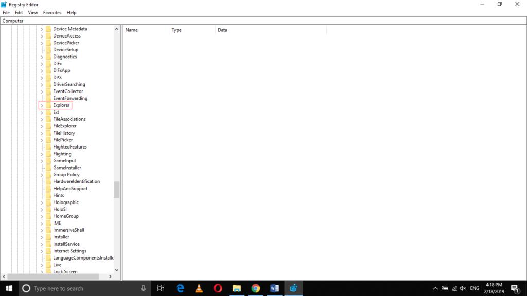 Explorer sub-folder