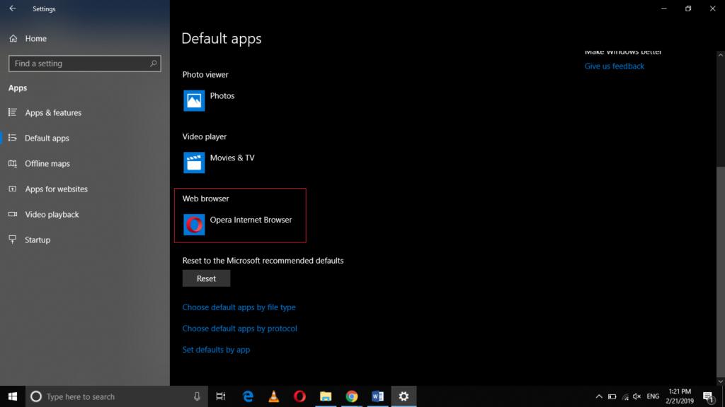 Default Apps tab