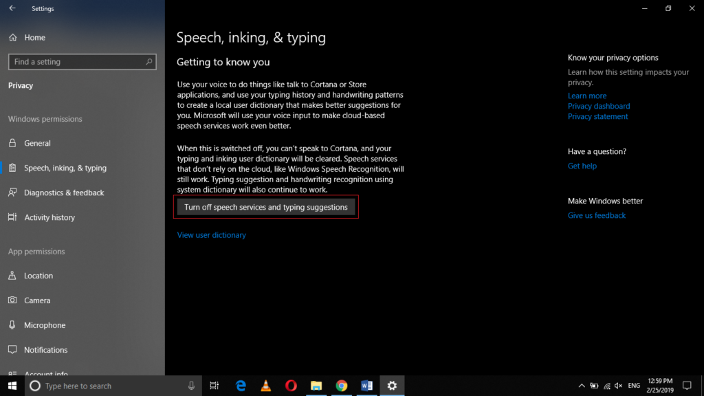Turn off speech services and typing suggestions