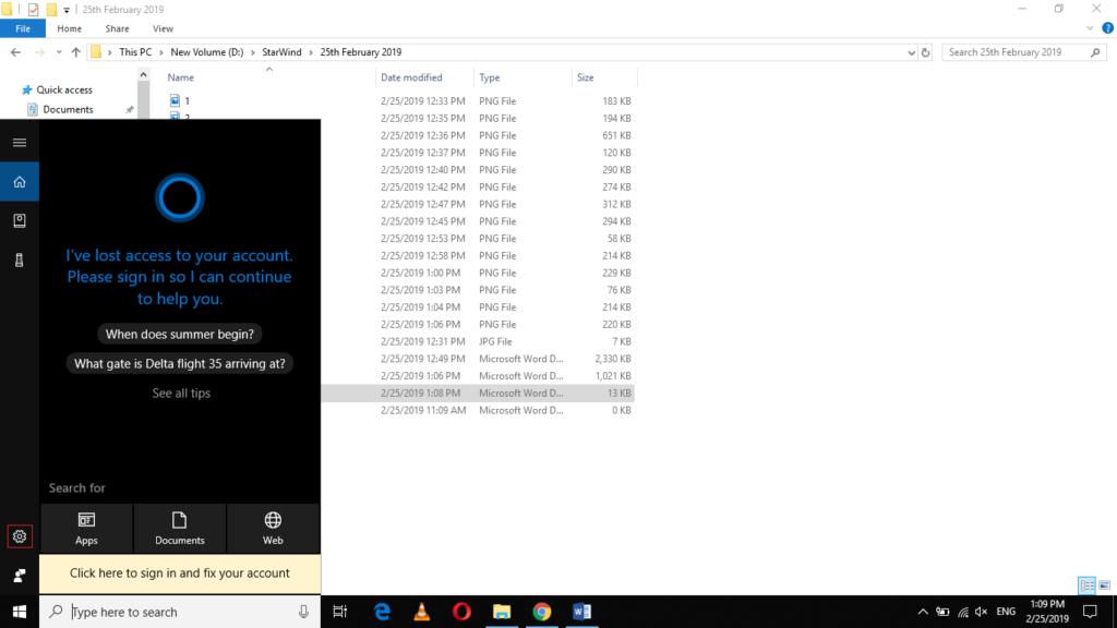 Windows search bar