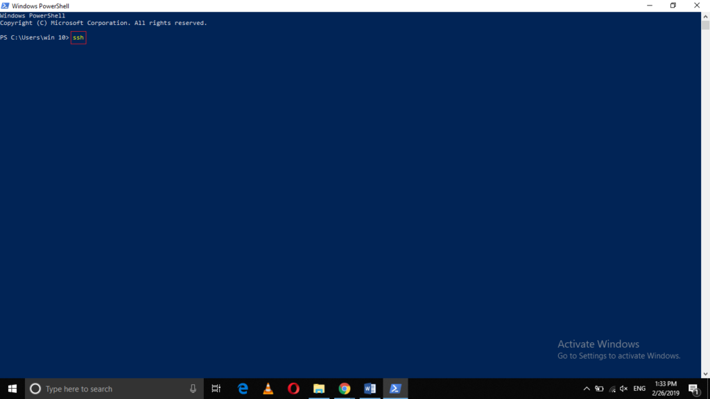 SSH in Windows PowerShell