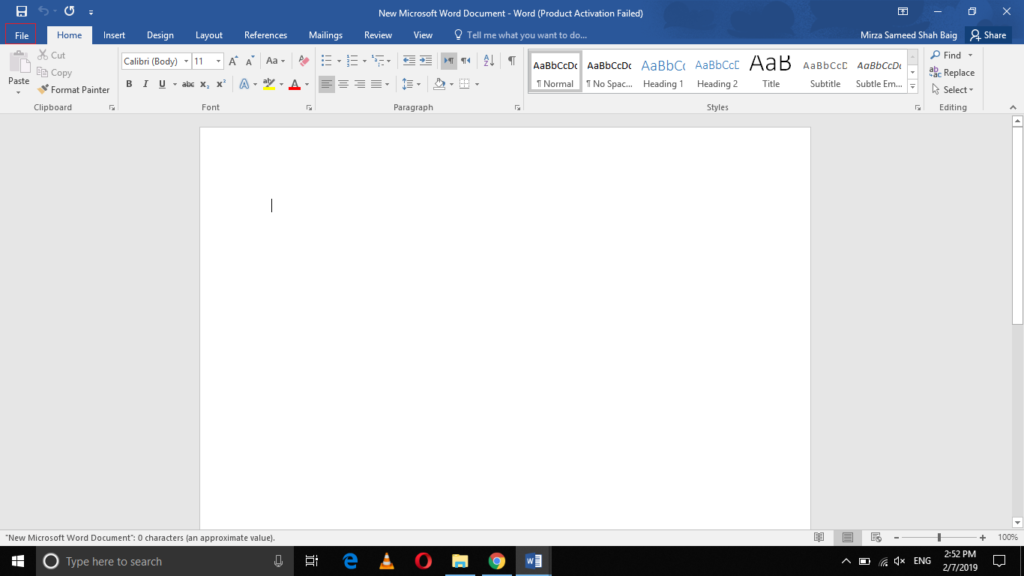 Launch MS Word