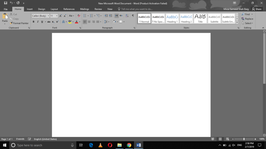 MS Office theme will be turned Dark Grey