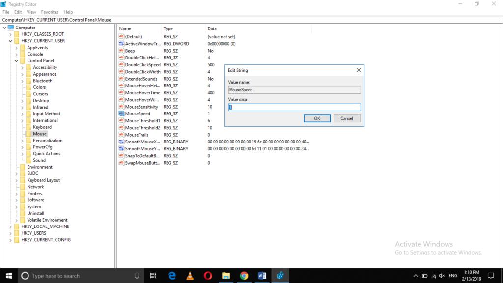 Edit String dialogue box