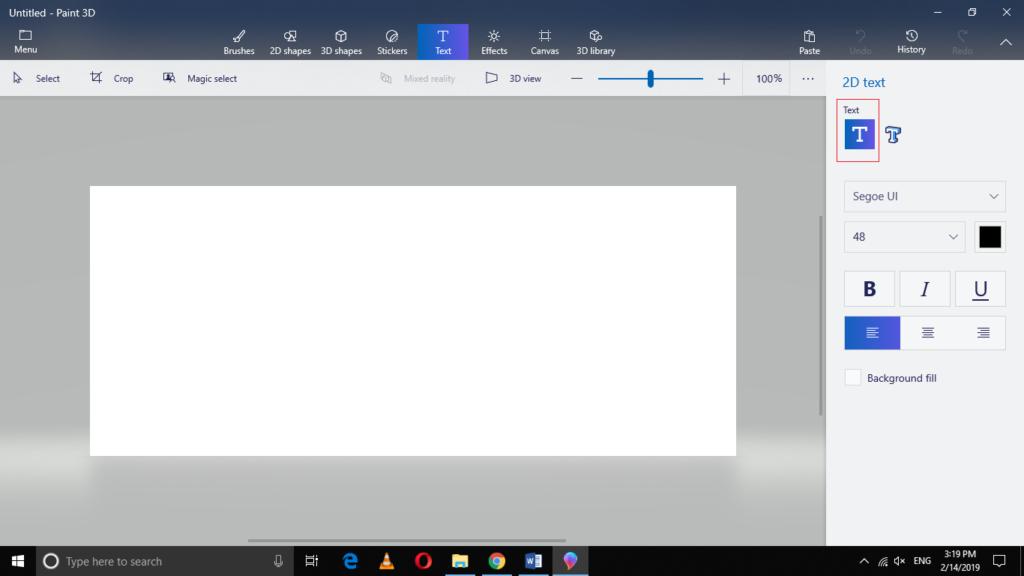 Select 2D text