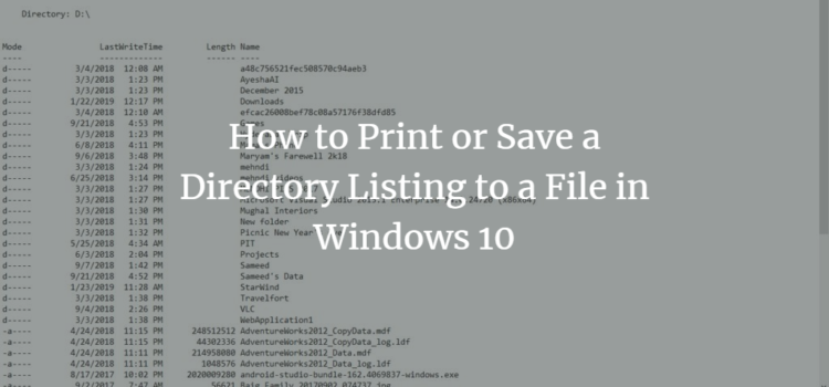 How to Print or Save a Directory Listing to a File in Windows 10