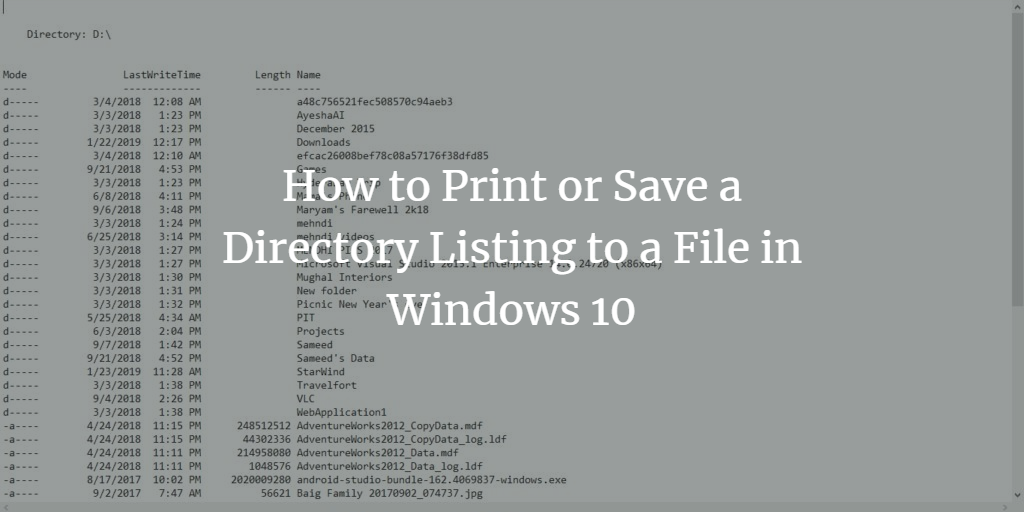 Windows Directory Listing to File