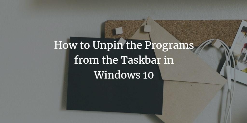 Unpin Taskbar Program