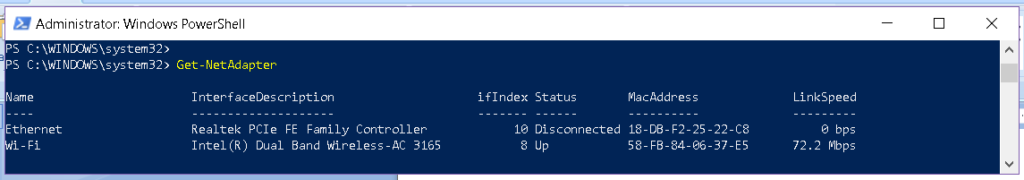 PowerShell Get-NetAdapter command