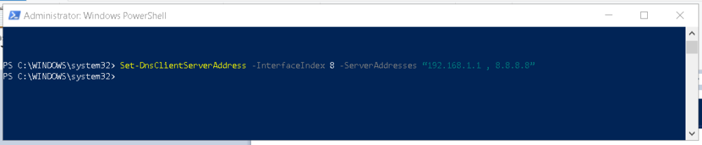 Set DNS server address using PowerShell