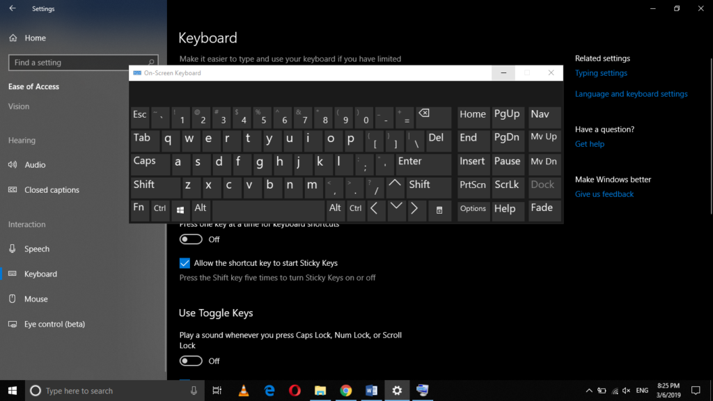 Windows on-screen keybord