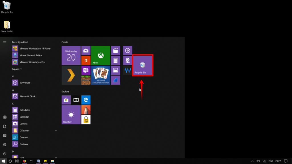 Add the Recycle Bin as a tile in the start menu