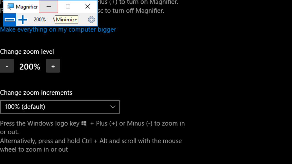 minimize the Magnifier tool