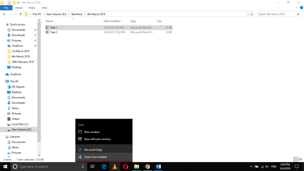 , How to Unpin the Programs from the Taskbar in Windows 10