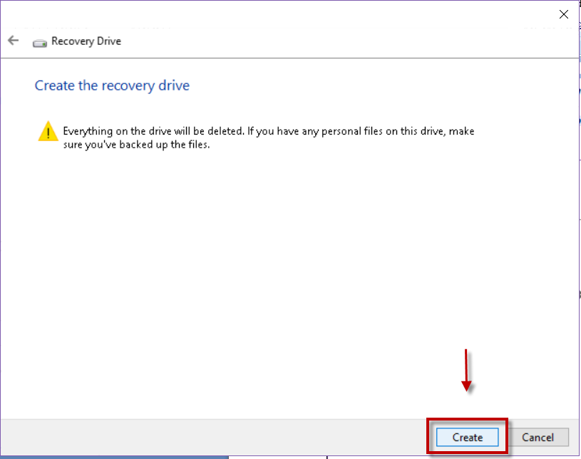 Create Recovery Drive in Windows 10