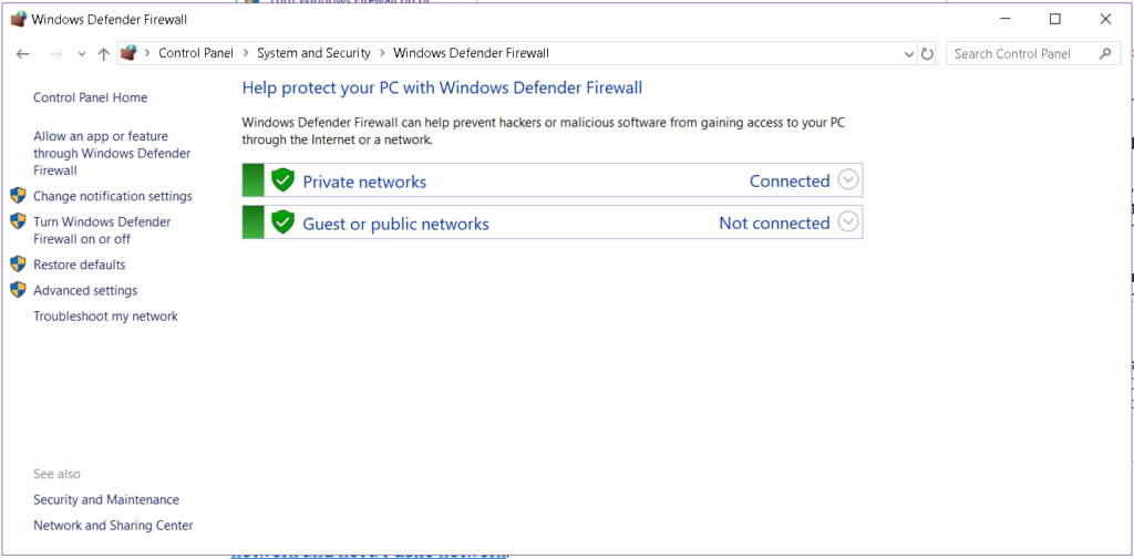Configure Windows Defender Firewall