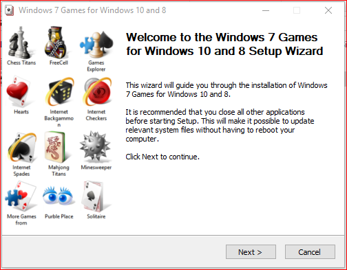 Games installer wizard