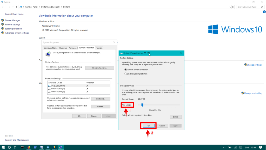 , Change System Protection Storage Size in Windows 10