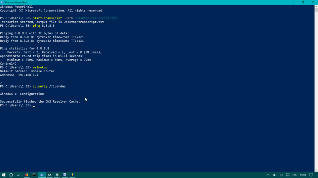 PowerShell start transcript