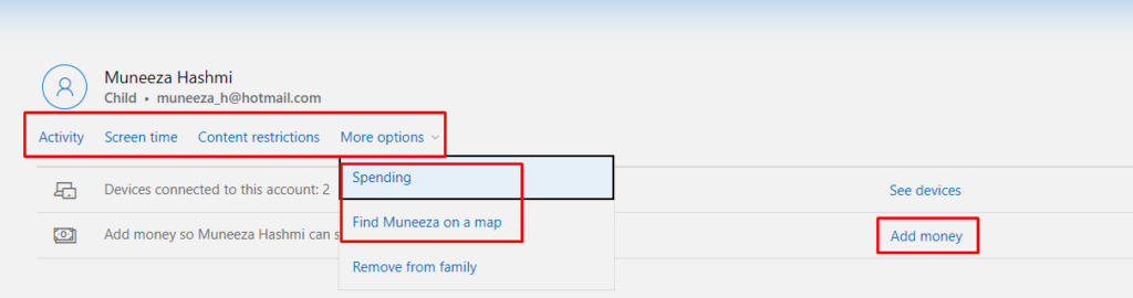 Sign-in in parents account