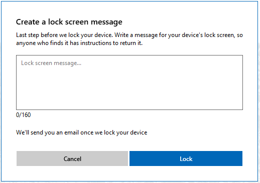 Create lock screen message
