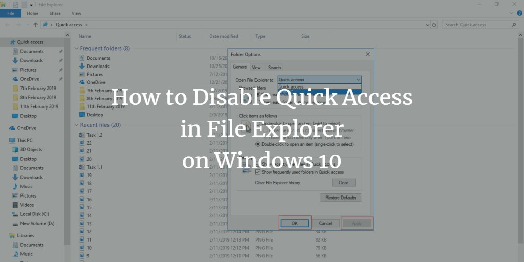 Disable quick access in File explorer