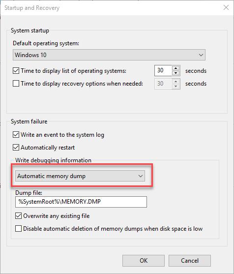 Automatic Memory Dump