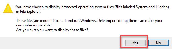 Confirm to display hidden files