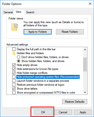 Untick hide protected operating system files option